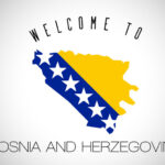 Bosnia and Herzegovina Welcome to Text and Country flag inside Country Border Map. Bosnia and Herzegovina map with national flag Vector Design Illustration.